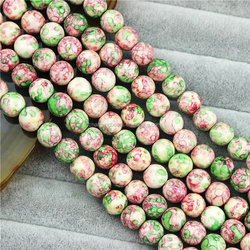 CH-MAB0210 10mm Rain stone beads,Fashion natural round pink green beads for jewelry finding,semi-precious stone beads wholesale