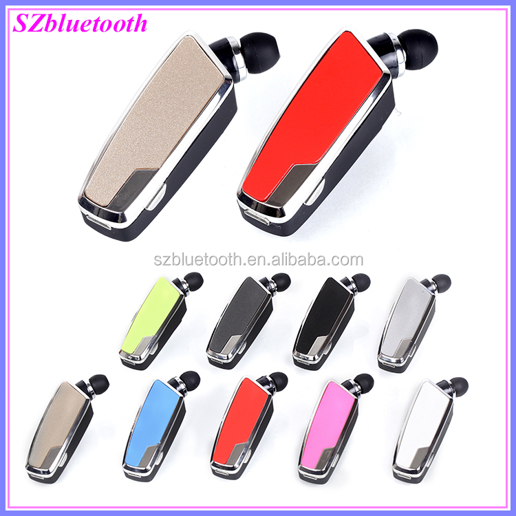 2017 Super mini size collar clip retractable earbud cable business wireless bluetooth headset