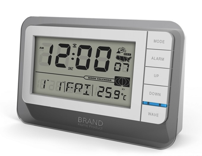 Hairong promotion LCD radio controlled desk digital clock with backlight