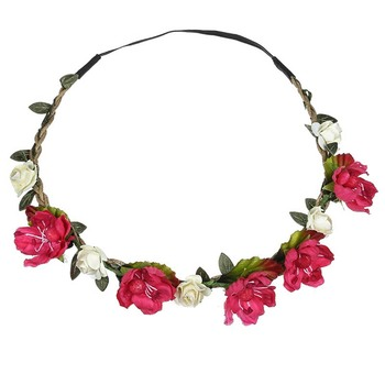 Wholesale custom new design flower crown fabric flower and leaf garland hair accessories for women