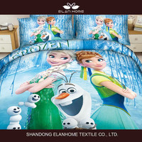3D home textile cotton reactive Frozen china supplier bedding set/duvet cover/comforter/quilt/bed sheet/cushion/pillow for kids