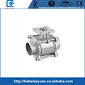 1000WOG DN25 3PC Butt Weld High Mounting Pad Full Port Stainless Steel Screwed Ball Valve