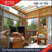 Energy-saving tempered insulated glass house,wooden and aluminum glass sunroom