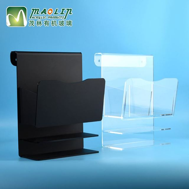 Transparent new products sign mask display crystal Acrylic alibaba black plastic brochure holder