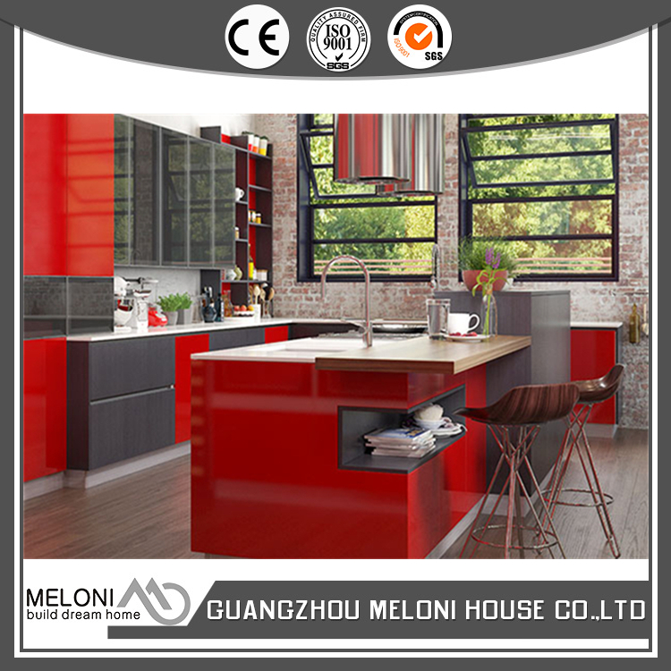 mdf high gloss laminate kitchen cabinets with soft closing for home