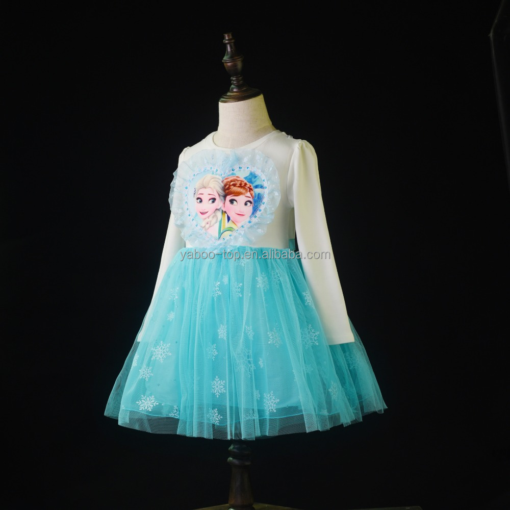 2017 Frozen Dress Princess Anna Elsa Queen Girls Cosplay Costume Party Formal Dress