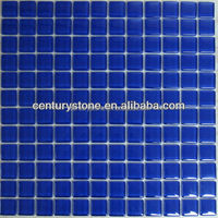 2016 hot sale deep/bright blue Glass Mosaic For Swimming Pool Tiles price