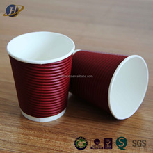 Personalized disaposable 16oz ripple wall paper cup hot coffee red cups