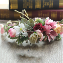 wedding flower hair accessories pink flower wreath decoration 2057E