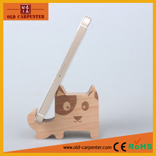 Small cartoon puppy decorative wooden carved mobile phone support