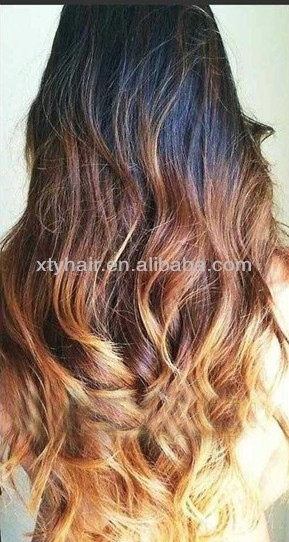 Unprocessed Three Tone Ombre Color Virgin Brazilian Human Hair Weave