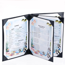 High Quality 6 Views PU Leather A4 Menu Cover Or For 8.5*11'' Menu