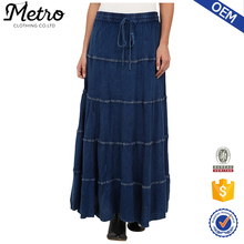 OEM Vintage Smocked Waistband Denim Midi-length Skirt