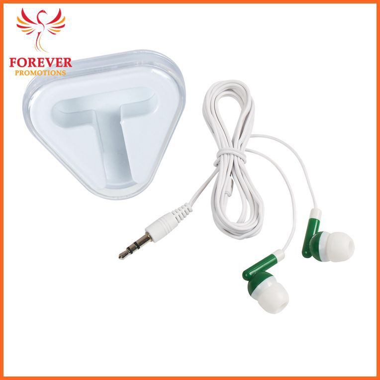 Customized Logo Promo Gifts Green Earphone for Phone