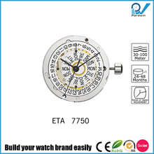 25 jewels ETA mechanical movement 7750 with 6 hands 2 push buttons Self-winding mechanism with ball bearing