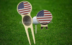 China manufacturer golf products - divot tools hat clips with custom removable ball markers