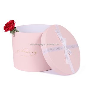 oem Valentine's mother's day luxury pink empty flower gift box luxury preserved fresh rose round cylinder flower gift box