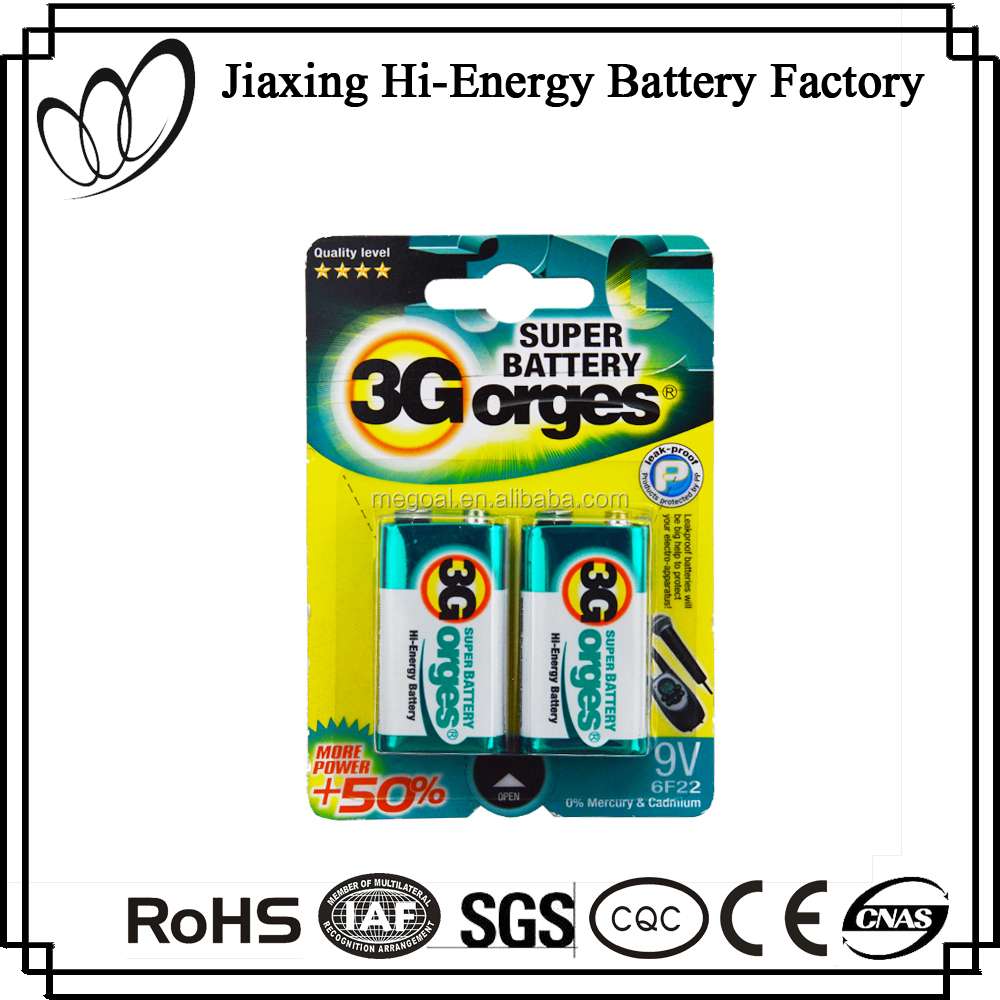 High Energy 9V 6F22 Dry Carbon Zinc Battery Pack