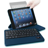 For iPad Mini 2in1 Bluetooth Wireless Keyboard+Leather Case Stand Pouch Light Blue