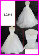 big ball gown with horse hair trim soft lace 100% polyester women dress woven dress smile neck line bridal dress