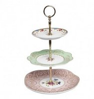 The new arrival Bronze 3 Tier Plate Cake Stand Centre Handle 50sets/lot