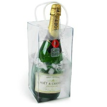 Hot durable pvc transparent champagne wine ice bag pouch cooler bag