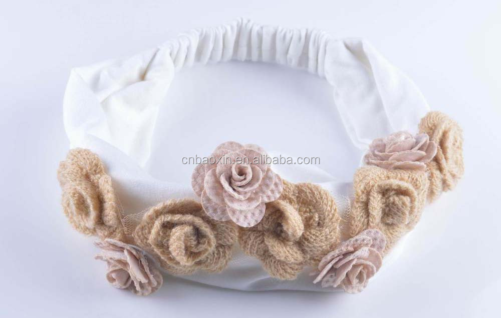 Girls cotton sport reversible headband/headwrap with custom flowers