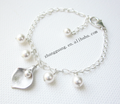 Elegant Alloy Freshwater Pearl Calla Lily Bangle Jewelry Wholesale