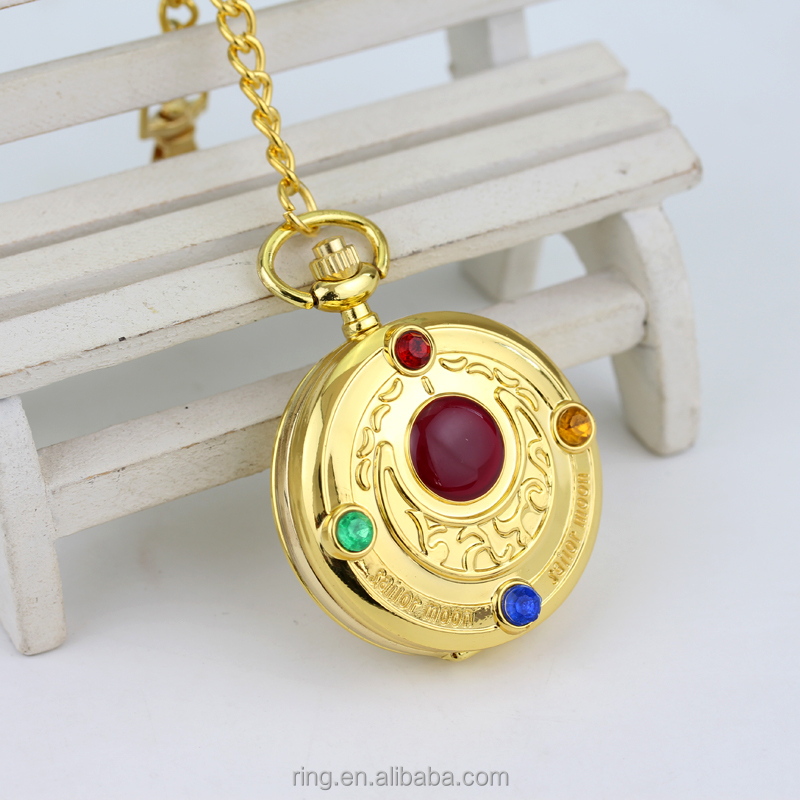 Sailor moon Proplica Star Compact Pocket Watch with Keychain jewelry wholesale Souvenirs