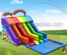 High Quality Giant Rainbow 4 lines water slides Commercial 0.55mm PVC water park game