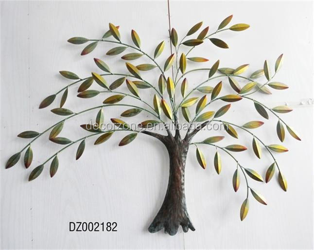 Metal Tree and Leaf Wall Decor Art