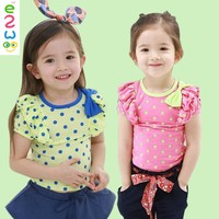 Child Girl Cutom Full Dotted Printing Ruffle T-shirt With Beautiful Bow Tie Cheap Price