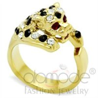 Fashion Animal Brass Crystal Ring Gold Gemstone Jewelry
