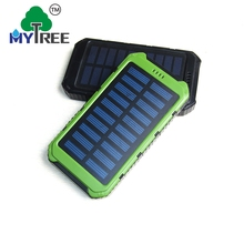 Mytree Dual Usb Ports 5v/2a Slim Promotion Charger Mobile 10000mah Solar Power Bank With Led Torch Light for Outdoor sportsman