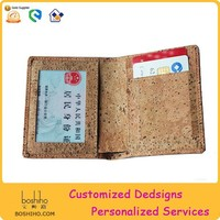 Boshiho Unique Design card holder eco-friendly natural Luxury Material cork woman wallet