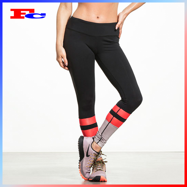 OEM Yoga Wear Factory Black Red Nylon Spandex Fabric Full Length Female Custom Fitness Leggings Sports Wear Women