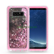 3 in 1 Shockproof Clear Glitter Liquid quicksand phone case For Samsung galaxy Note 8