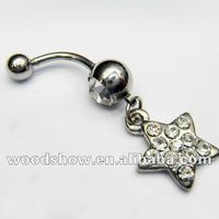 Beautiful Crystal 316L Steel Dangle Belly