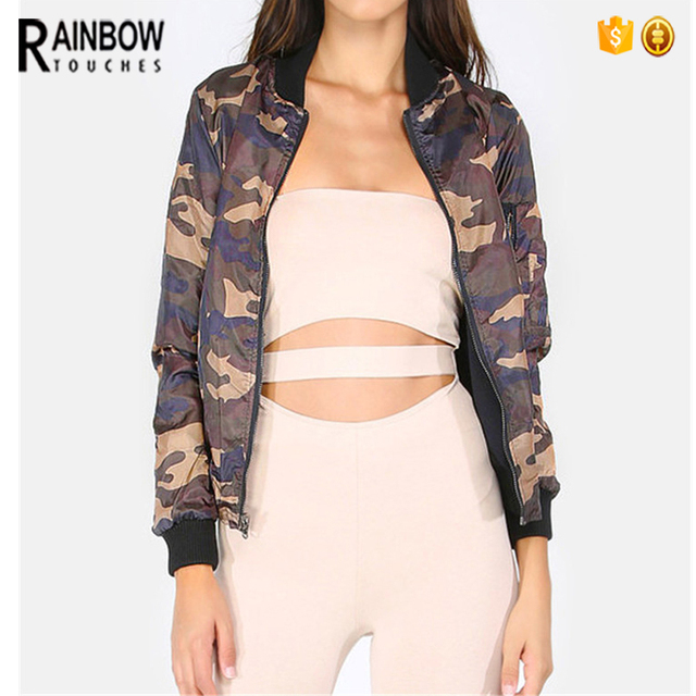 Reversible Camouflage Bomber Jacket Woman Wholesale