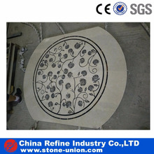 Marble flower medallion inlay waterjet for hall floor
