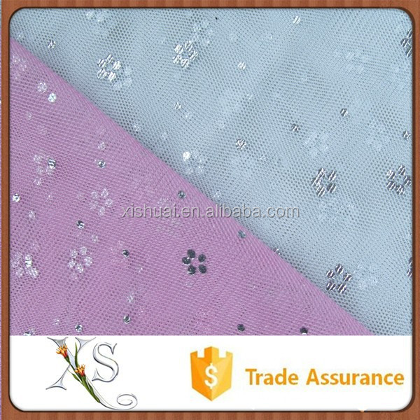 China Supplier Feel Gentle Soft Gilding Pink Foil Mesh Fabric For Curtain Gauze