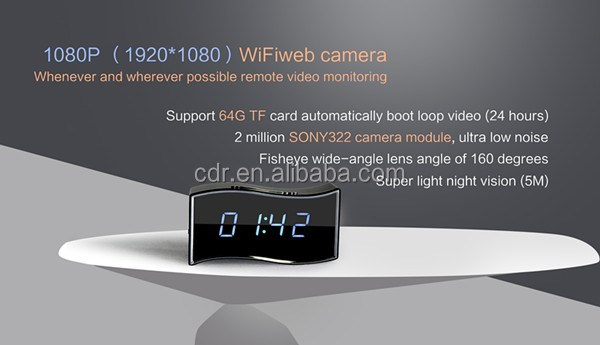 2016 New wifi hidden cameras HD1080P Wifi Alarm Clock Camera with big time display