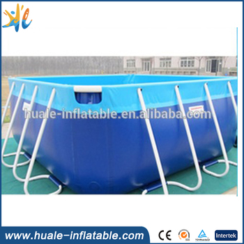 Outdoor rectangular strong steel metal frame inflatable swimming pool for sale