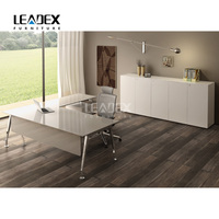 Office Table Glass Executive CEO Desk Office Desk With Locking Drawers