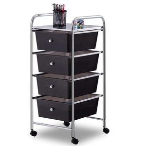 550-74 Four Plastic Drawers Rolling Metal Frame Storage Cart Bin Organizer with Flexible Wheels for Home Office kitchen