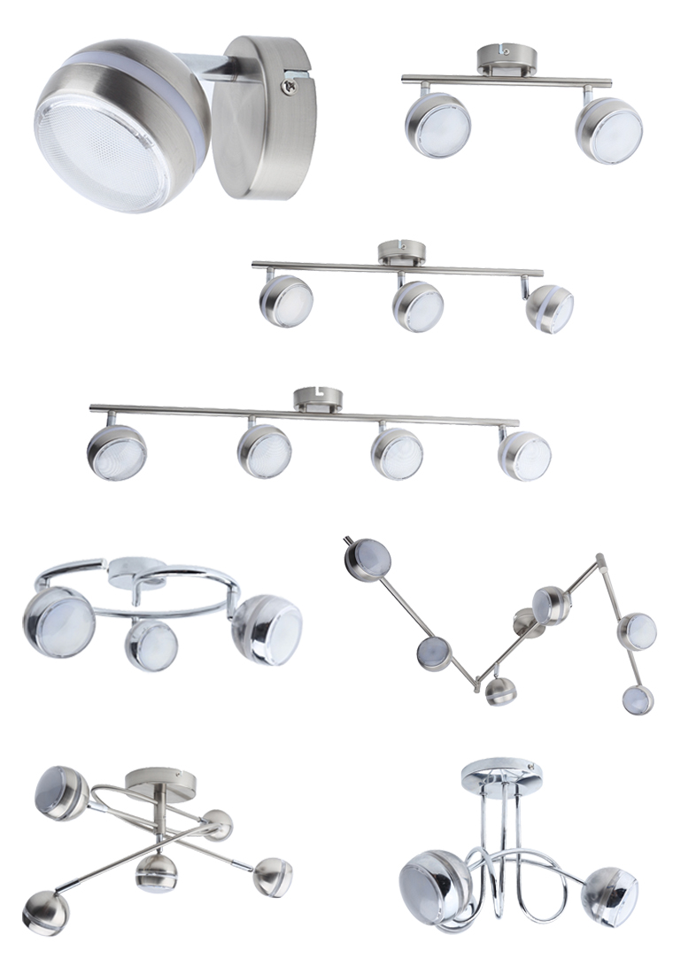 retrofit globe shade satin nickel finish 4*5w led spot lamp for ceiling or wall lighting