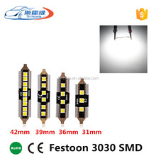 Festoon 3030 SMD C5W 31mm 36mm 39mm 42mm Canbus Car Led Interior Light 12v 6000k Reading Bulb Error Free Auto license plate lamp