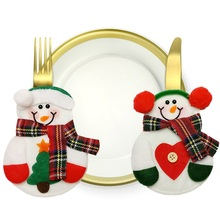 2pcs/Pack Christmas Decor Cute Snowman Table Dinning Holder Pocket Cutlery Bag Party Decorations