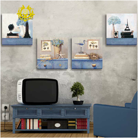 Retro european style polyptych wall decorative frameless painting