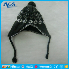 kids funny custom beanies winter hats with strings and earflap